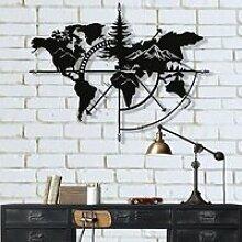 Carte du Monde en Métal Montagne, Décoration