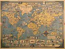 Carte du monde en papier kraft bleu vintage