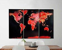 Carte du monde Fire Opal avec effet 3D en peinture