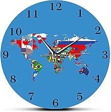 Carte du Monde Géographie Humaine Horloge Murale