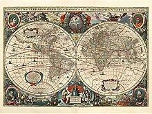 Carte du monde Hondius 1641 Hémisphères Grand
