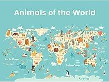 Carte du monde imprimée sur toile de qualité