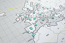 Carte du monde magnétique design avec aimants.
