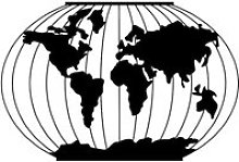 Carte du monde, Méridien (65 x 43 cm) Décoration