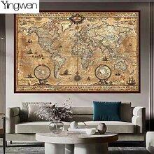 Carte du monde nautique rétro 5D, peinture