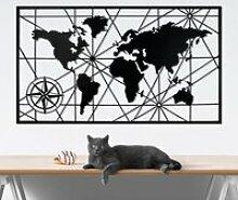 Carte du monde - Noir (98 x 55 cm) Décoration