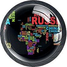 Carte du monde noir Russie Canada, 4 pièces de