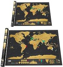 Carte du monde noire à gratter, étiquette de