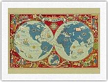 Carte du Monde planisphère - Air France - Carte