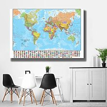 Carte du monde pliable et sans décoloration,