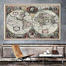 Carte du monde rétro océan nautique, peinture