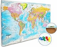 Carte du Monde Tableau d'affichage XL 2018