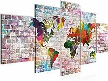 Carte Du Monde Tableau Murale Impression sur Toile