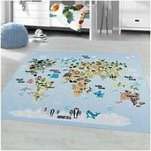 Carte du monde - tapis enfant lavable bleu 120 x