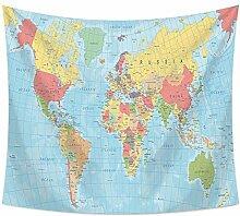 Carte du Monde Tapisserie Polyester tenture Murale