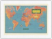 Carte du Monde - Vickers Viscount Avion à