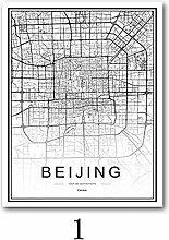 Carte du Monde Ville Noir Et Blanc Impression sur