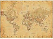 Carte du Monde  - Vintage - Antique - 100x140cm -
