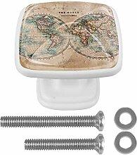 Carte du monde vintage Bouton de Tiroir carrées