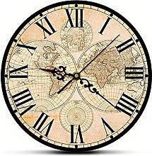 Carte du Monde Vintage du 17Ème Siècle Horloge