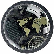 Carte du monde Vintage Globe Boutons De Meuble