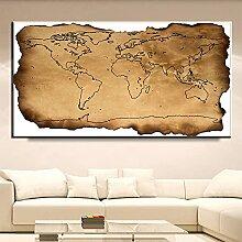 Carte géographique rétro du monde peinture