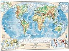 Cartes du Monde physique Carte avec 4Côté,