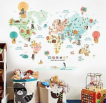 Carton animal carte du monde vinyle stickers