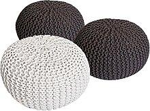 casamia Lot de 3 tabourets en tricot - Diamètre :