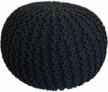 casamia Pouf en tricot - Diamètre : 55 cm - Effet