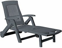 CASARIA Chaise Longue Zircone Pliable Anthracite