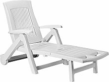 CASARIA Chaise Longue Zircone Pliable Blanc