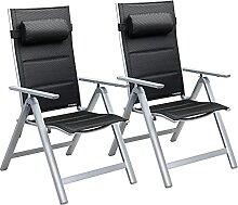 CASARIA Lot de 2 chaises de Jardin à Dossier Haut