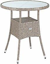 CASARIA Table de Jardin en polyrotin Surface Ronde