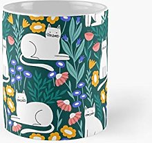 Cat In The Garden On Green Background Classic Mug
