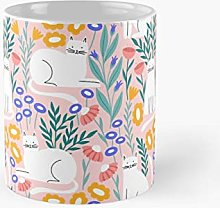 Cat In The Garden On Pink Background Classic Mug