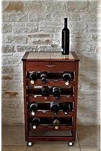 Cave à vin à chariot PRESTIGE en bois massif et