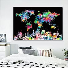 CBYLDDD Abstrait Carte du monde et Town Town Toile