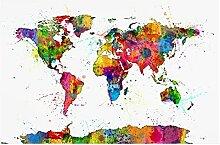 CBYLDDD Abstrait World Carte Toile Peinture