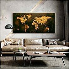 CBYLDDD Carte du monde abstraite Peinture
