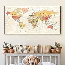 CBYLDDD Carte du monde Art mural décoratif