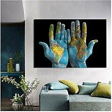 CBYLDDD Carte du monde créative sur les mains
