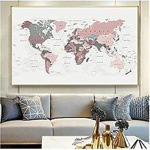 CBYLDDD Carte du monde moderne peinture blush rose