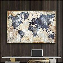CBYLDDD Carte du monde Vintage Peinture modulaire