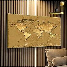 CBYLDDD Une carte du monde Moderne Golden Art