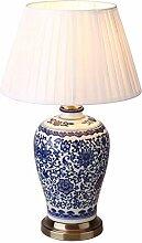 CCSUN Porcelaine bleue et blanche Lampe de