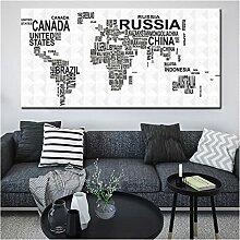 CCZWVH Carte du Monde des Pays par Noms de