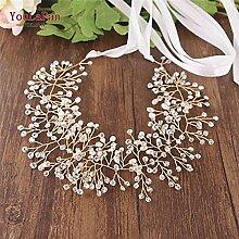 Ceinture de mariage dorée Perles Ceinture en