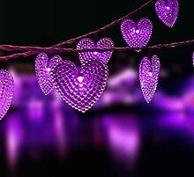 Chaîne de lumière en forme de coeur d'amour