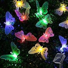 Chaîne lumineuse de papillon solaire 6.5m 30LED